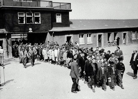 Children leave Buchenwald camp
