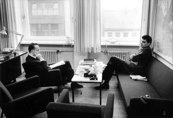 David Irving (right) meets Rolf Hochhuth, January 1965. They have been firm friends to the present day.