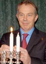Blair with Menorah